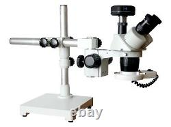 20-40x Stereo Microscope Universal Boom Stand 100mm WD w LED & 16MP Camera
