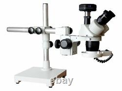 20-40x Stereo Microscope Universal Boom Stand 100mm WD w LED & 5MP Camera