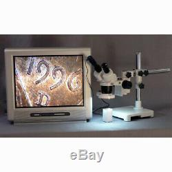 20X-40X-80X Stereo Microscope on Single-Arm Boom with Ring Light