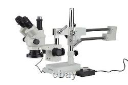 3.5X-180X Simul-Focal Stereo Zoom Microscope + Boom Stand + LED Light + 18MP USB