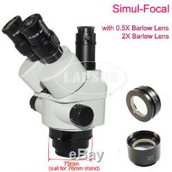 3.5X-90X Simul-focal Trinocular Zoom Stereo Microscope + Long Arm Boom Stand S