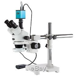 3.5X-90X Trinocular LED Boom Stand Stereo Microscope with 144-LED + AF Camera