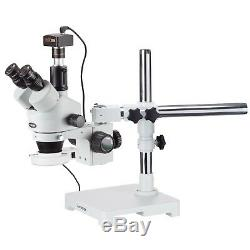 3.5X-90X Trinocular LED Boom Stand Stereo Microscope with 144-LED and 5MP Camera
