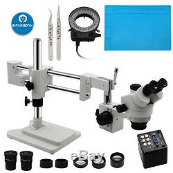 3.5X-90X Trinocular Stereo Microscope Rotatable Head with Double Arm Boom Stand