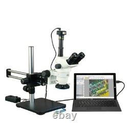 6.7X-45X Zoom Stereo Microscope+144 LED Ring Light+Boom Stand+5MP Digital Camera
