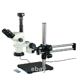 6.7X-45X Zoom Stereo Microscope+144 LED Ring Light+Boom Stand+9MP Digital Camera