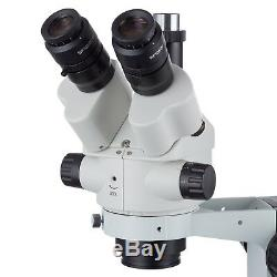 7X-45X Simul-Focal Stereo Zoom Microscope on Boom Stand + Fluorescent Light + 3M