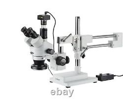 7X-45X Simul-Focal Stereo Zoom Microscope on Boom Stand + Ring Light + 14MP Came