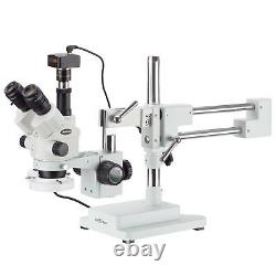7X-45X Simul-Focal Stereo Zoom Microscope on Boom Stand + Ring Light + 5MP Camer