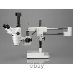 AmScope 3.35X-90X Ultimate Trinocular Stereo Zoom Microscope on 3D Boom Stand