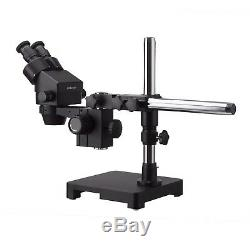 AmScope 3.5X-180X Black Stereo Zoom Microscope + Single Arm Boom Stand