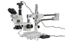 AmScope 3.5X-180X Simul-Focal Stereo Zoom Microscope + Boom Stand + LED Light +