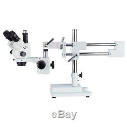 AmScope 3.5X-45X Simul-Focal Stereo Lockable Zoom Microscope Dual Arm Boom Stand