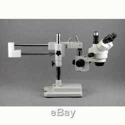 AmScope 3.5X-45X Trinocular Stereo Zoom Microscope with Double Arm Boom Stand