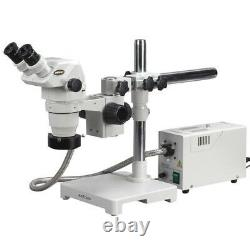 AmScope 6.7X-45X Stereo Zoom Microscope on Boom with Fiber Optic Ring Light