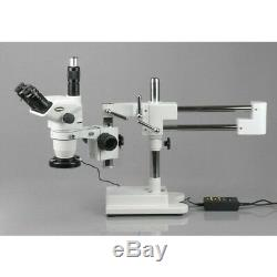 AmScope 6.7X-45X Trinocular Boom Stereo Microscope with Focusable Eyepieces