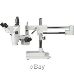 AmScope 6.7X-45X Ultimate Trinocular Stereo Zoom Microscope on 3D Boom Stand