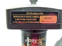 AmScope 7X-45X Stereo Zoom Microscope with Single Arm Boom Stand & Eyepiece Camera