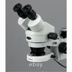 AmScope 7X-90X Stereo Zoom Microscope on Boom Stand with 80 LED Light