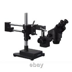 AmScope Binocular Stereo Zoom Microscope with Black Double Arm Boom Stand