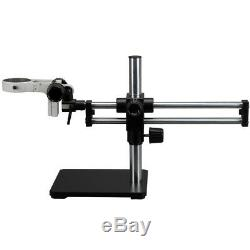 Double Steel Arm Boom Stand for Stereo Microscopes Pin Mount, 76mm Focus Block