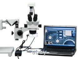 Dual Bar Boom Stand Stereo Microscope 5X-80X Zoom+1.3MP USB Camera+54 LED Light