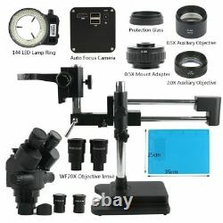 Eakins Trinocular Stereo Microscope 3.5X-180X Simul Focal Double Boom Stand