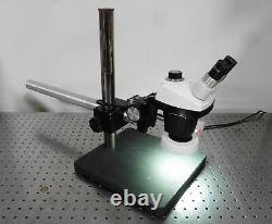 G176519 Unbranded Stereo Zoom Microscope 0.7-3X, Boom Stand & Light Ring