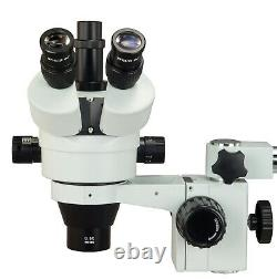 OMAX 3.5X-90X 5MP Touchscreen Zoom Stereo Boom Stand Microscope+8W Ring Light