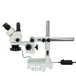 OMAX 7X-45X Zoom Stereo Microscope on Single Bar Boom Stand+144-Metal Ring Light