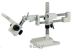 OMAX Double-Arm Stereo Microscope Boom Stand Heavy Duty w Focusing Racking 76mm