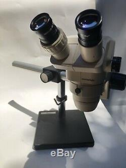 Olympus SZ40 Stereo Zoom Microscope, Leica Arm And Boom Stand With Eyepieces