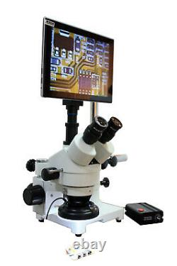 PCB Inspection Mobile Soldering 5-15x Boom Stereo LCD Microscope WD 165mm/6.5