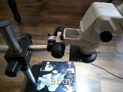 SCIENSCOPE SSZ Stereo Microscope with 10x/22 Eye Pieces, Boom Stand & Ring Light