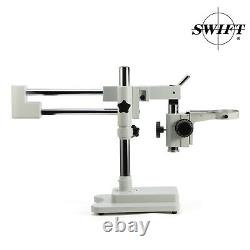 SWIFT Double Arm Boom Stand for Stereo Microscope Tube Mount 76mm Focus Block