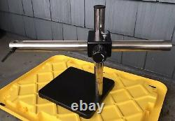 Single Arm Boom Stand for Stereo Microscopes Steel Arm, Weighted Base 40 Lbs