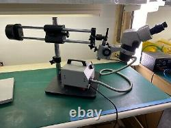 Stereo Microscope with Double Arm Boom Stand, and WF 10X/22 lens