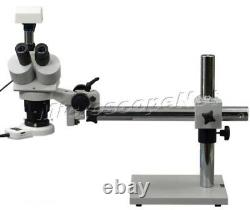 Stereo Trinocular Boom Stand 5X-60X Microscope with 3MP Camera and 54 LED Light