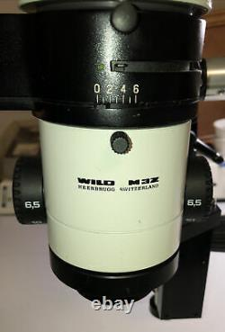 WILD HEERBRUGG LEICA M3Z STEREO ZOOM MICROSCOPE ON A BOOM STAND, 1.0X LENS, More