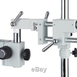 White Double Arm Boom Stand for Stereo Microscope Tube Mount 76mm Focus Block